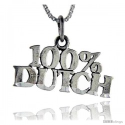 Sterling Silver 100 Percent Dutch Talking Pendant, 1 in wide