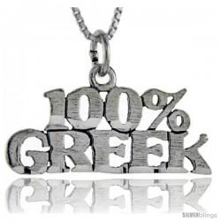 Sterling Silver 100 Percent Greek Talking Pendant, 1 in wide