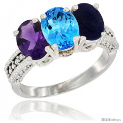 14K White Gold Natural Amethyst, Swiss Blue Topaz & Lapis Ring 3-Stone 7x5 mm Oval Diamond Accent