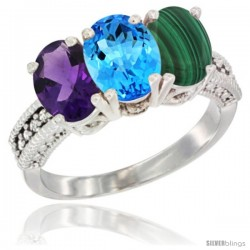 14K White Gold Natural Amethyst, Swiss Blue Topaz & Malachite Ring 3-Stone 7x5 mm Oval Diamond Accent