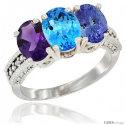 14K White Gold Natural Amethyst, Swiss Blue Topaz & Tanzanite Ring 3-Stone 7x5 mm Oval Diamond Accent