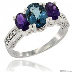 14k White Gold Ladies Oval Natural London Blue Topaz 3-Stone Ring with Amethyst Sides Diamond Accent
