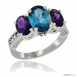 14K White Gold Ladies 3-Stone Oval Natural London Blue Topaz Ring with Amethyst Sides Diamond Accent