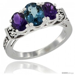 14K White Gold Natural London Blue Topaz & Amethyst Ring 3-Stone Oval with Diamond Accent