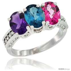14K White Gold Natural Amethyst, London Blue Topaz & Pink Topaz Ring 3-Stone 7x5 mm Oval Diamond Accent