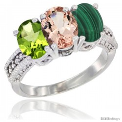 10K White Gold Natural Peridot, Morganite & Malachite Ring 3-Stone Oval 7x5 mm Diamond Accent
