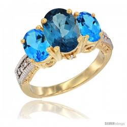 10K Yellow Gold Ladies 3-Stone Oval Natural London Blue Topaz Ring with Swiss Blue Topaz Ring Sides Diamond Accent