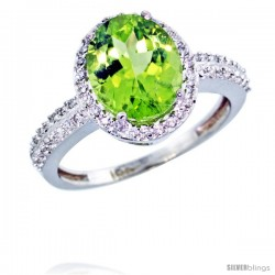 10k White Gold Diamond Peridot Ring Oval Stone 10x8 mm 2.4 ct 1/2 in wide