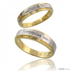 Gold Plated Sterling Silver Diamond 2 Piece Wedding Ring Set His 6mm & Hers 5mm -Style Agy113w2