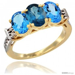 10K Yellow Gold Natural London Blue Topaz & Swiss Blue Topaz Sides Ring 3-Stone Oval 7x5 mm Diamond Accent
