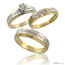Gold Plated Sterling Silver Diamond Trio Wedding Ring Set His 6mm & Hers 5mm -Style Agy113w3