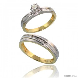Gold Plated Sterling Silver 2-Piece Diamond Wedding Engagement Ring Set for Him & Her, 3.5mm & 4.5mm wide