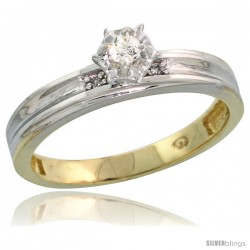 Gold Plated Sterling Silver Diamond Engagement Ring, 1/8 in wide -Style Agy114er
