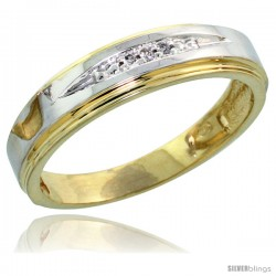 Gold Plated Sterling Silver Ladies Diamond Wedding Band, 1/8 in wide -Style Agy114lb
