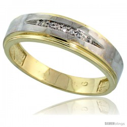 Gold Plated Sterling Silver Mens Diamond Wedding Band, 3/16 in wide -Style Agy114mb