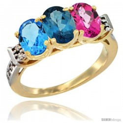 10K Yellow Gold Natural Swiss Blue Topaz, London Blue Topaz & Pink Topaz Ring 3-Stone Oval 7x5 mm Diamond Accent