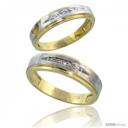 Gold Plated Sterling Silver Diamond 2 Piece Wedding Ring Set His 4.5mm & Hers 3.5mm