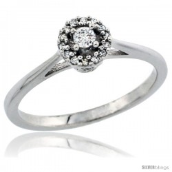 14k White Gold Round Diamond Engagement Ring w/ 0.112 Carat Brilliant Cut Diamonds, 1/4 in. (6mm) wide