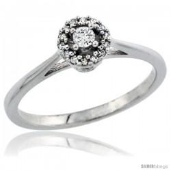 14k White Gold Round Diamond Engagement Ring w/ 0.112 Carat Brilliant Cut Diamonds, 1/4 in. (6mm) wide