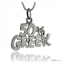 Sterling Silver 50 Percent Greek Talking Pendant, 1 in wide