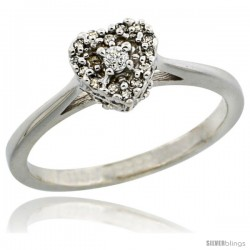 14k White Gold Heart-shaped Diamond Engagement Ring w/ 0.086 Carat Brilliant Cut Diamonds, 1/4 in. (6.5mm) wide