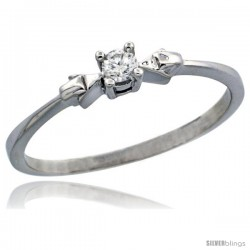 14k White Gold Solitaire Diamond Engagement Ring w/ 0.077 Carat Brilliant Cut Diamond, 1/8 in. (3mm) wide