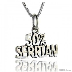 Sterling Silver 50 Percent Serbian Talking Pendant, 1 in wide