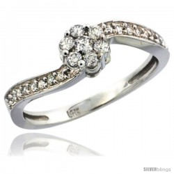 14k White Gold Flower Cluster Diamond Engagement Ring w/ 0.28 Carat Brilliant Cut Diamonds, 1/4 in. (6mm) wide