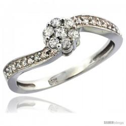 14k White Gold Flower Cluster Diamond Engagement Ring w/ 0.28 Carat Brilliant Cut Diamonds, 1/4 in. (6mm) wide