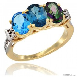 10K Yellow Gold Natural Swiss Blue Topaz, London Blue Topaz & Mystic Topaz Ring 3-Stone Oval 7x5 mm Diamond Accent