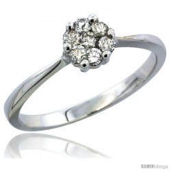 14k White Gold Flower Cluster Diamond Engagement Ring w/ 0.26 Carat Brilliant Cut Diamonds, 1/4 in. (6mm) wide