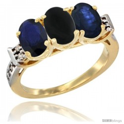 10K Yellow Gold Natural Black Onyx & Blue Sapphire Sides Ring 3-Stone Oval 7x5 mm Diamond Accent
