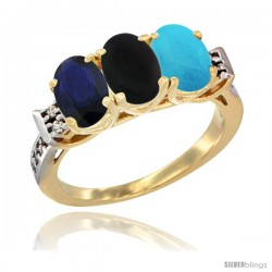 10K Yellow Gold Natural Blue Sapphire, Black Onyx & Turquoise Ring 3-Stone Oval 7x5 mm Diamond Accent