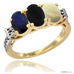10K Yellow Gold Natural Blue Sapphire, Black Onyx & Opal Ring 3-Stone Oval 7x5 mm Diamond Accent