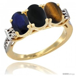10K Yellow Gold Natural Blue Sapphire, Black Onyx & Tiger Eye Ring 3-Stone Oval 7x5 mm Diamond Accent