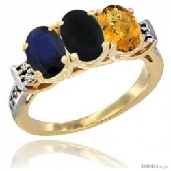 10K Yellow Gold Natural Blue Sapphire, Black Onyx & Whisky Quartz Ring 3-Stone Oval 7x5 mm Diamond Accent
