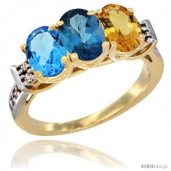 10K Yellow Gold Natural Swiss Blue Topaz, London Blue Topaz & Citrine Ring 3-Stone Oval 7x5 mm Diamond Accent