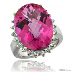 10k White Gold Diamond Halo Pink Topaz Ring 10 ct Large Oval Stone 18x13 mm, 7/8 in wide