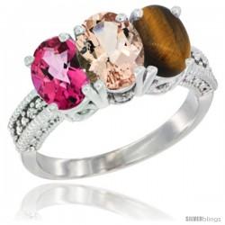 10K White Gold Natural Pink Topaz, Morganite & Tiger Eye Ring 3-Stone Oval 7x5 mm Diamond Accent