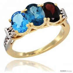 10K Yellow Gold Natural Swiss Blue Topaz, London Blue Topaz & Garnet Ring 3-Stone Oval 7x5 mm Diamond Accent