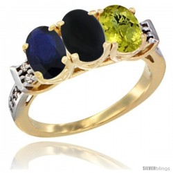 10K Yellow Gold Natural Blue Sapphire, Black Onyx & Lemon Quartz Ring 3-Stone Oval 7x5 mm Diamond Accent