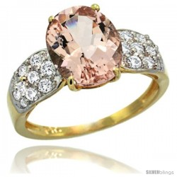 14k Gold Natural Morganite Ring 10x8 mm Oval Shape Diamond Accent, 3/8inch wide