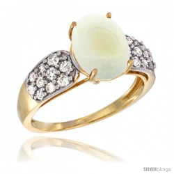 14k Gold Natural Opal Ring 10x8 mm Oval Shape Diamond Accent, 3/8inch wide