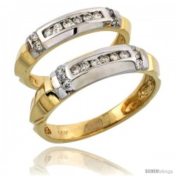 14k Gold 2-Piece His (5mm) & Hers (4mm) Diamond Wedding Band Set w/ Rhodium Accent, w/ 0.42 Carat Brilliant Cut Diamonds