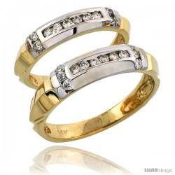 14k Gold 2-Piece His (5mm) & Hers (4mm) Diamond Wedding Band Set w/ Rhodium Accent, w/ 0.42 Carat Brilliant Cut Diamonds