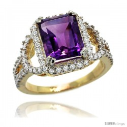 14k Gold Natural Amethyst Ring 10x8 mm Emerald Shape Diamond Halo, 1/2inch wide