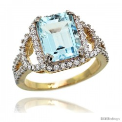 14k Gold Sky Blue Topaz Halo Engagement Ring 3.10 Carats Emerald Cut Stone 0.41 cttw Diamonds, 1/2inch.