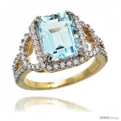 14k Gold Sky Blue Topaz Halo Engagement Ring 3.10 Carats Emerald Cut Stone 0.41 cttw Diamonds, 1/2inch.