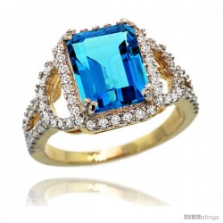 14k Gold Natural Swiss Blue Topaz Ring 10x8 mm Emerald Shape Diamond Halo, 1/2inch wide