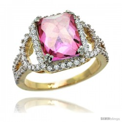 14k Gold Natural Pink Topaz Ring 10x8 mm Emerald Shape Diamond Halo, 1/2inch wide